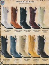 Wild West J-Toe Genuine Ostrich Leg Cowboy Western Boots DiffColors/Sizes Black/Brown/White/Cognac/Buttercup