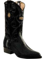Genuine Stingray mantarraya skin Black J Toe Style Leather Handmade Boots