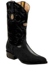 Genuine Stingray mantarraya skin Handmade Black Boots With Replaceable Heel Cap