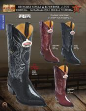 Los Altos J-Toe Stingray mantarraya skin Rowstone Mens Western Cowboy Boots Diff Colors/Sizes