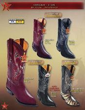 Toe Row Stone Genuine Stingray mantarraya skin Cowboy Western Boots Multi-color