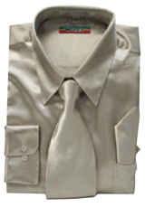 Cheap Priced Sale Mens New Mezzo Khaki Satin Dress Shirt Combinations Set Tie Combo Shirts