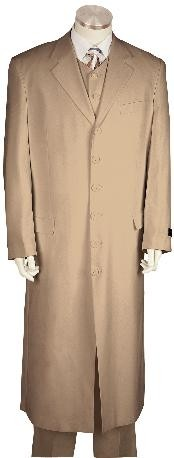 Fashionable Zoot Suit Khaki Taupe Beige Sand Tan Color Maxi Super