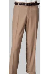 Flat Front Khaki ~ Tan Slim Fit Pants unhemmed unfinished bottom