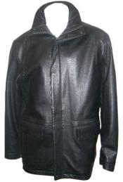 Hidden Hood with New Zealand Lamb Leather Zip Coat Black Big