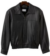 Lamb Leather with Zip-Out Liner Black Big and Tall Bomber Jacket