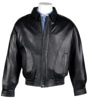 Mens Lamb Leather with Zip-Out Liner Classic Cut Bomber Jacket Black