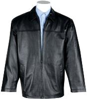 Lamb Leather with Zip-Out Liner JD Big and Tall Bomber Jacket Black