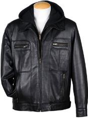 Mens 4-Zip Pocket Front Lamb Leather Hooded Big and Tall Bomber Jacket