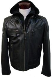 Removable Hood with Lamb Leather Moto Jacket Brown Available in Big and Tall