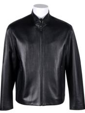 Standing Collar with New Zealand Lamb Leather Zip Jacket Black