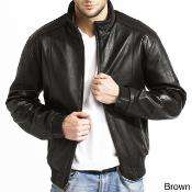 Mens Lambskin Leather Bomber Jacket BlackBrown