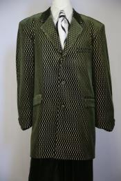 Pattern Velvet Notch Lapel Green Zoot Suit