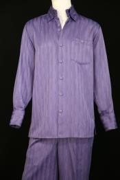 Mens Laser Stripes Long Sleeve Lavender Zoot Suit