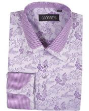 Collar Club Style Lavender Pattern Shirts