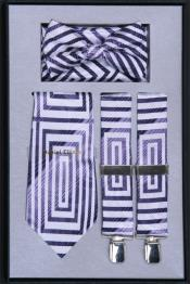 Suspenders For MenTie Bow Tie and Hanky Set Lilac Lavender