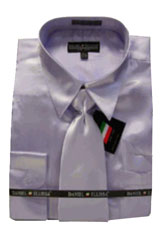 Cheap Priced Sale Mens New Lavender Satin Dress Shirt Combinations Set Tie Combo Shirts