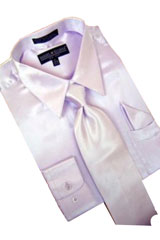 Cheap Sale Satin Lavender Dress Shirt Combinations Set Tie Hanky Set