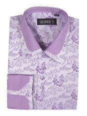 Lavender Floral Pattern Classic Fit Standard Cuff Shirt