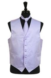 Tuxedo Wedding Vest ~ Waistcoat ~ Waist coat Tie Set Lavender Buy 10 of same color Tie