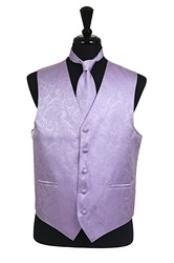 A I S L E Y tone on tone Dress Tuxedo Wedding VestTie Set Lavender