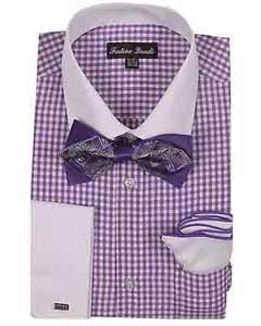 White Collar Two Toned Contrast Checks Design Dress Shirt With Bow