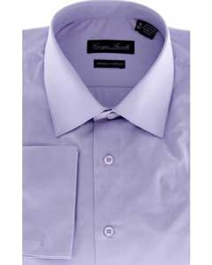 Modern-Fit Solid Lavender Mens Dress Shirt