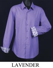 Slim Fit  - Cuff Pattern Lavender Mens Dress Shirt