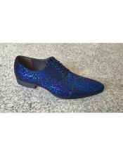 Zota Brand Mens Man Made Foil Pattern Blue Lace Up Genuine