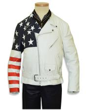 Mens Notch Lapel Motorcycle Genuine Leather Off White Zipper Jacket