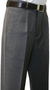 Valenti Mens Single Pleated Dress Pants Roma Medium Gray unhemmed unfinished