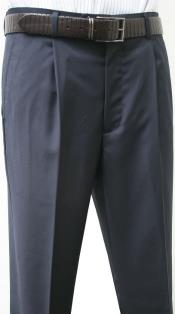 Valenti Mens Single Pleated Dress Pants Roma Navy unhemmed unfinished bottom