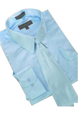 Cheap Priced Sale Satin Light Blue ~ Sky Blue Dress Shirt Combinations Set Tie Hanky