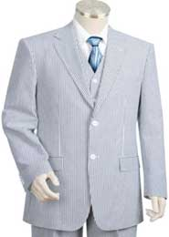 2pc 100% Cotton Seersucker Sear sucker suit Blue~off White
