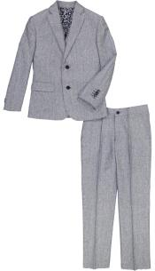 Boys Notch Lapel 3 Pc Light Blue And Gray Linen Tonal Suit And Pant