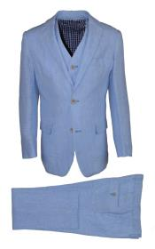 Boys Single Breasted Notch Lapel 3 Pc Light Blue Linen Tonal Vested Suit And Pant
