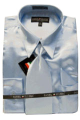 Cheap Priced Sale Mens New Light Blue ~ Sky Blue Satin Dress  Shirt Combinations Set