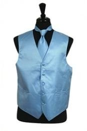 Rib Pattern Dress Tuxedo Wedding Vest Tie Set Light Blue