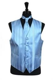 Tuxedo Wedding Vest/Tie/Bowtie Sets (Light Blue Tone on Tone) Buy 10 of same color Tie For $25