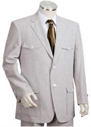 Seersucker Suit Mens 2pc 100% Cotton Seersucker Sear sucker suit Grayoffwhite