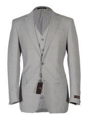 Mens Light Gray Notch Lapel Fashion Fit Cut Vested Suit