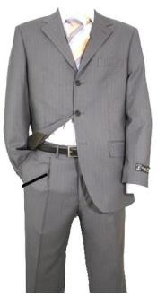 Gray Pinstripe Super 120s Wool Available in 2 or 3 Buttons Style Regular Classic Cut