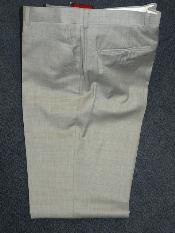 light gray 100% WOOL  SUPER 140S Solid ~ plain FRONT PANTS - Cheap Priced Dress Slacks