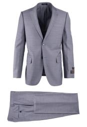 Light Gray Pure Wool 2 Button Novello Modern Fit Luxe Fine