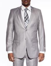 Mens extra slim fit wedding prom Light Grey skinny suit