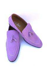 Mens Slip-On Style Gator Fashionable Light Purple ~ Lavender ~ Lilac Loafers