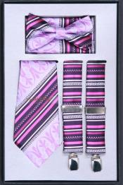 Mens Suspender Tie Bow Tie ~ Bowtie and Hanky Set Lilac