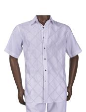 Mens Linen Diamond Pattern Button Closure White Outfit