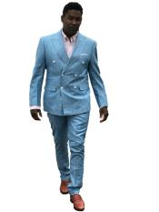Mens Double Breasted Summer Linen Suit in Light Blue