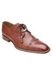 Authentic Genuine Skin Italian Honey Brown Full Lizard Skin Exotic Shoes